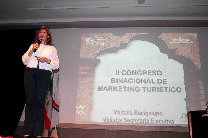 Ministra Marcela Bacigalupo durante una presentación