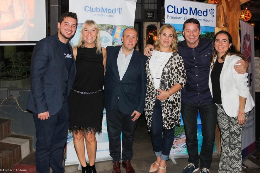 Pablo Martín Godoy, Eleonora Zeballos y Tina Garrido de Club Med en compañía de Joaquin, Sylvia y David Prono